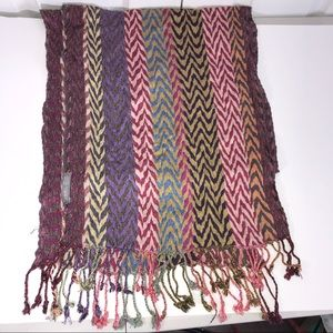 Chelsey II Multi-Colored Chevron Scarf with Fringe